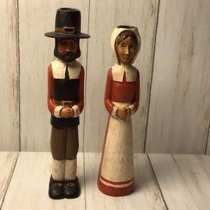 Vtg Kurt Adler Thanksgiving Pilgrim Candleholders
